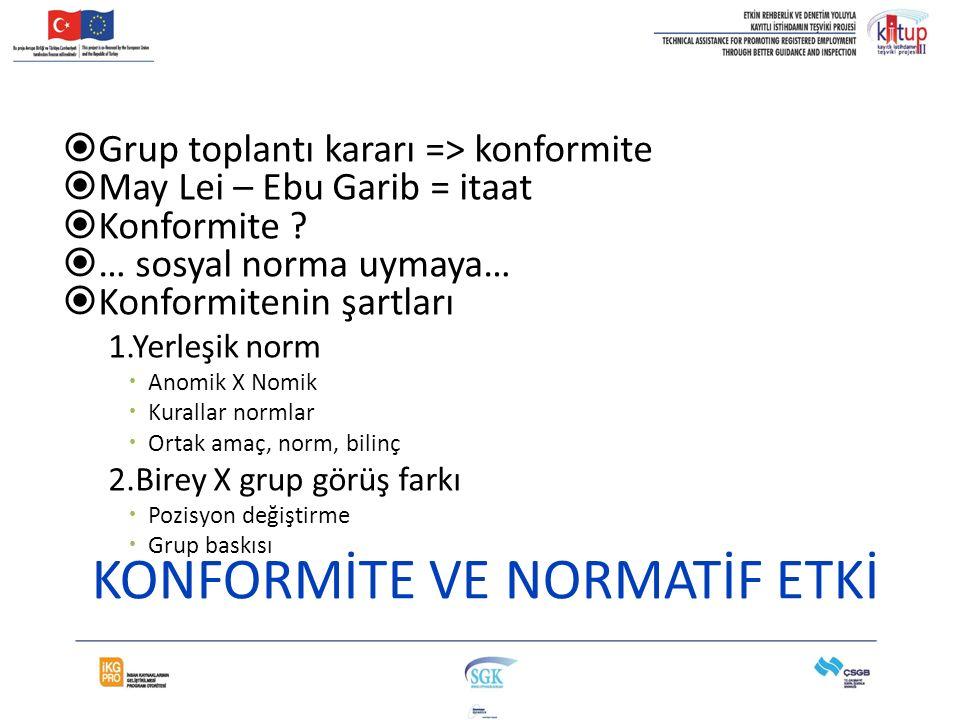 KONFORMİTE VE NORMATİF ETKİ  Grup toplantı kararı => konformite  May Lei – Ebu Garib = itaat  Konformite ?  … sosyal norma uymaya…  Konformitenin