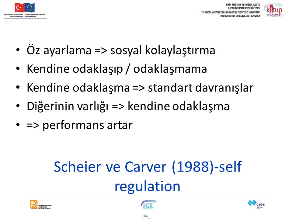Scheier ve Carver (1988)-self regulation Öz ayarlama => sosyal kolaylaştırma Kendine odaklaşıp / odaklaşmama Kendine odaklaşma => standart davranışlar Diğerinin varlığı => kendine odaklaşma => performans artar