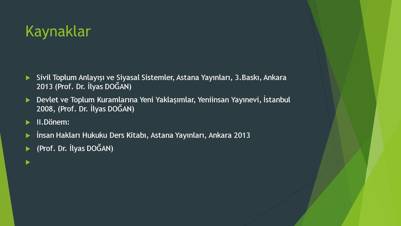 Kaynaklar  Sivil Toplum Anlayışı ve Siyasal Sistemler, Astana Yayınları, 3.Baskı, Ankara 2013 (Prof. Dr. İlyas DOĞAN)  Devlet ve Toplum Kuramlarına