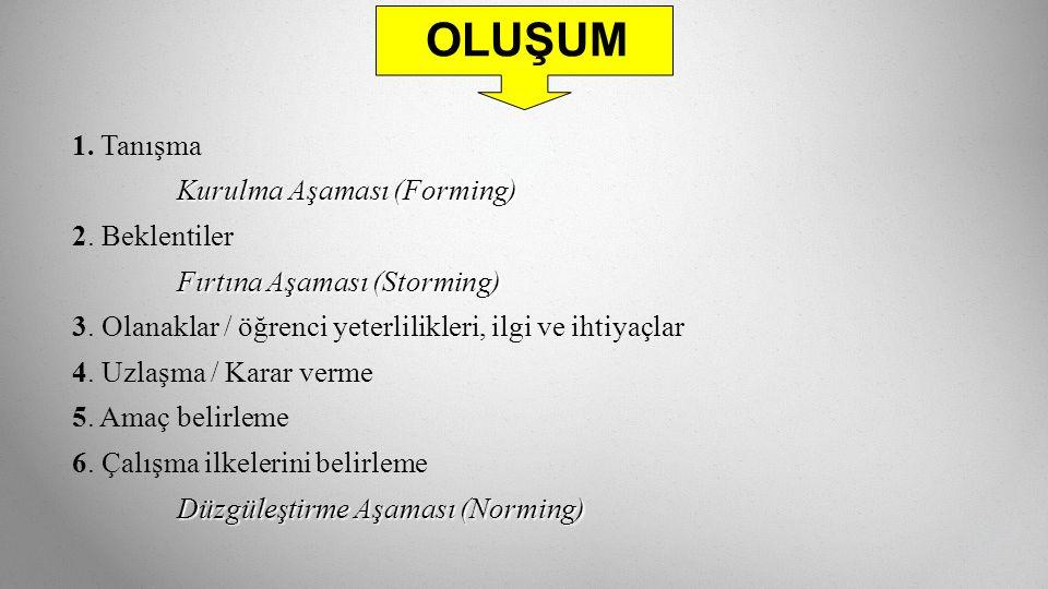 OLUŞUM 1. Tanışma Kurulma Aşaması (Forming) 2. Beklentiler Fırtına Aşaması (Storming) 3.