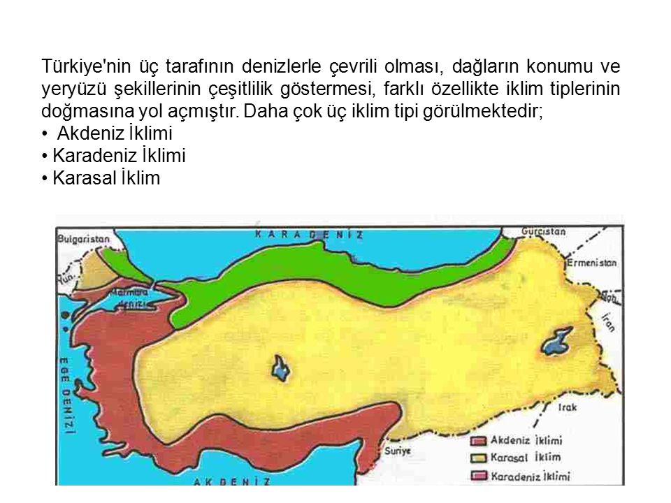 Türkiye nin üç tarafının denizlerle çevrili olması, dağların konumu ve yeryüzü şekillerinin çeşitlilik göstermesi, farklı özellikte iklim tiplerinin doğmasına yol açmıştır.