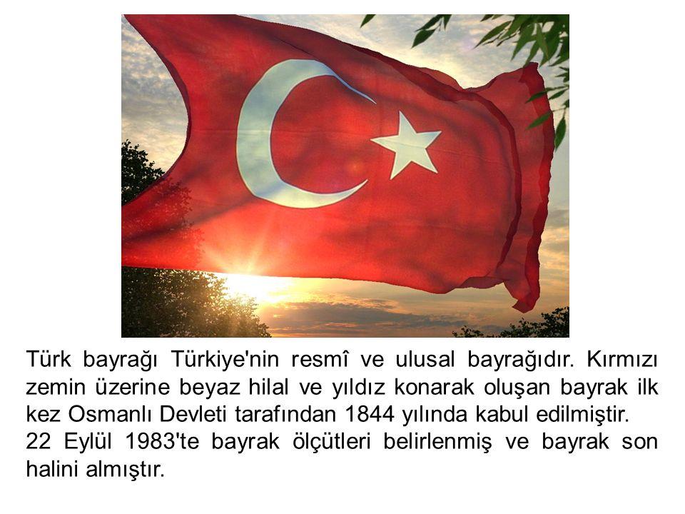 Türk bayrağı Türkiye'nin resmî ve ulusal bayrağıdır. Kırmızı zemin üzerine beyaz hilal ve yıldız konarak oluşan bayrak ilk kez Osmanlı Devleti tarafın