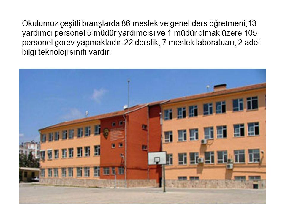 Okulumuz çeşitli branşlarda 86 meslek ve genel ders öğretmeni,13 yardımcı personel 5 müdür yardımcısı ve 1 müdür olmak üzere 105 personel görev yapmaktadır.
