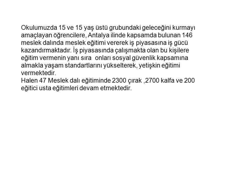 Okulumuzda 15 ve 15 yaş üstü grubundaki geleceğini kurmayı amaçlayan öğrencilere, Antalya ilinde kapsamda bulunan 146 meslek dalında meslek eğitimi ve