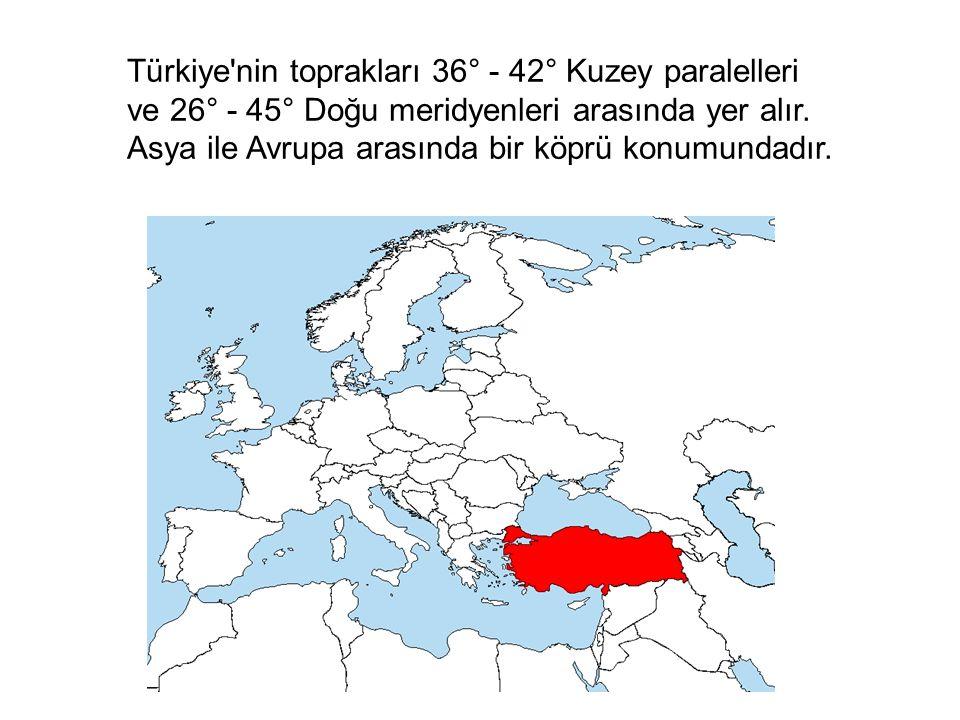 Türkiye'nin toprakları 36° - 42° Kuzey paralelleri ve 26° - 45° Doğu meridyenleri arasında yer alır. Asya ile Avrupa arasında bir köprü konumundadır.