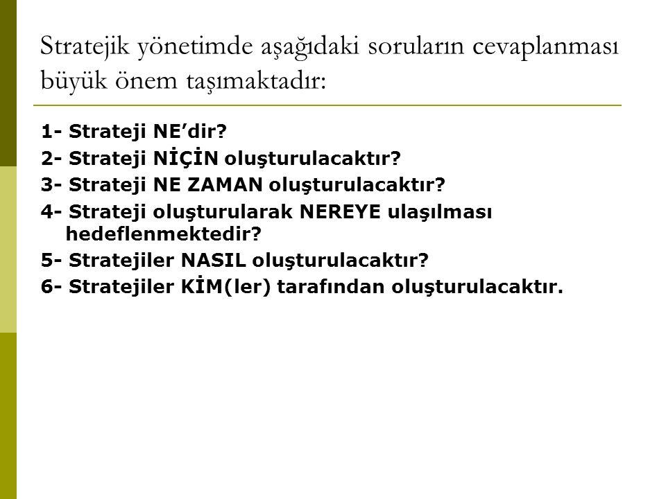 Stratejik yönetimde aşağıdaki soruların cevaplanması büyük önem taşımaktadır: 1- Strateji NE'dir.