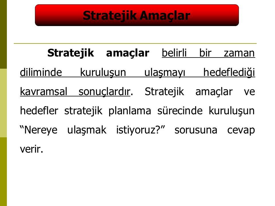 41 Stratejik amaçlar belirli bir zaman diliminde kuruluşun ulaşmayı hedeflediği kavramsal sonuçlardır.