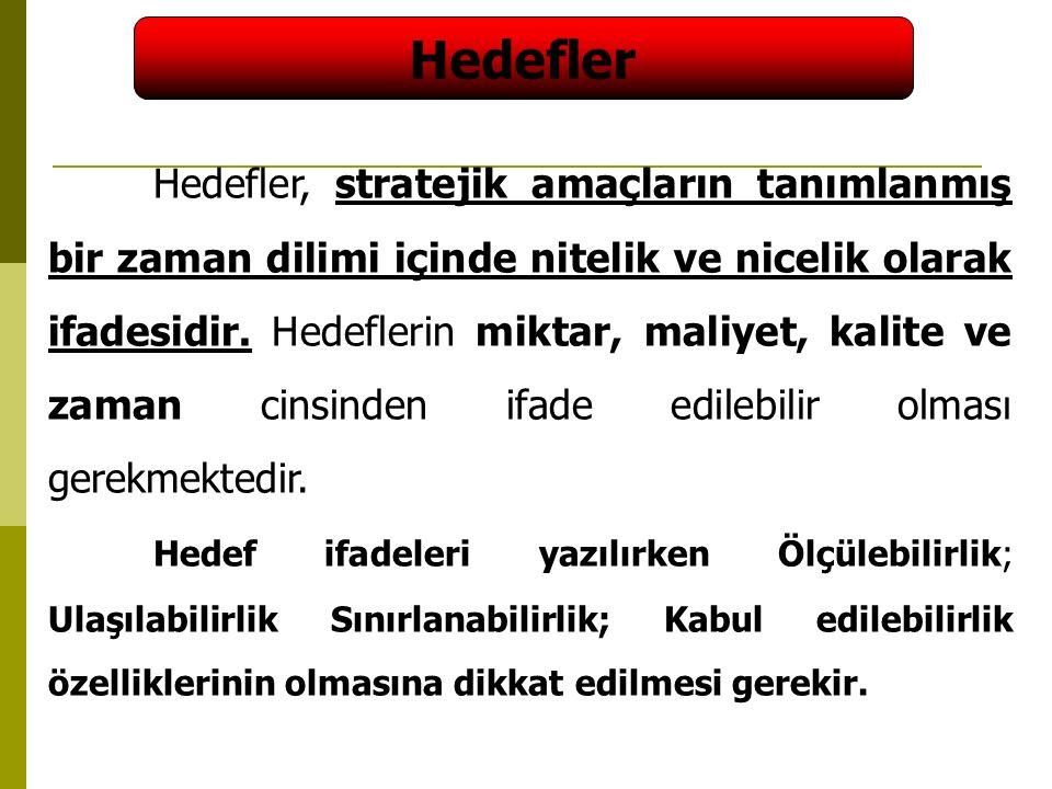 47 Hedefler Hedefler, stratejik amaçların tanımlanmış bir zaman dilimi içinde nitelik ve nicelik olarak ifadesidir.