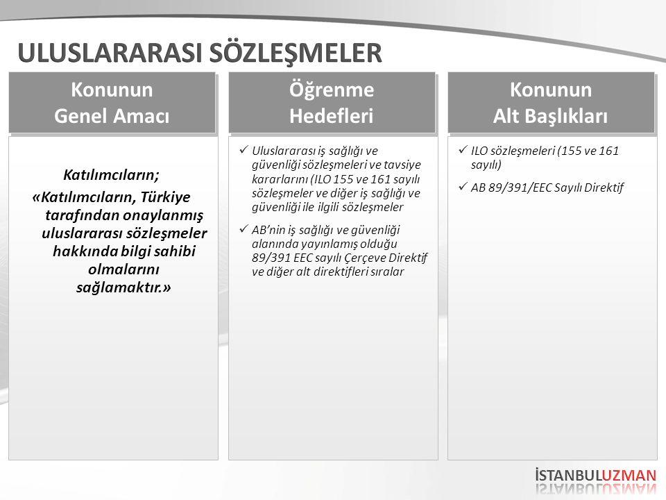 Katılımcıların; «Katılımcıların, Türkiye tarafından onaylanmış uluslararası sözleşmeler hakkında bilgi sahibi olmalarını sağlamaktır.» Konunun Genel Amacı Konunun Genel Amacı Uluslararası iş sağlığı ve güvenliği sözleşmeleri ve tavsiye kararlarını (ILO 155 ve 161 sayılı sözleşmeler ve diğer iş sağlığı ve güvenliği ile ilgili sözleşmeler AB'nin iş sağlığı ve güvenliği alanında yayınlamış olduğu 89/391 EEC sayılı Çerçeve Direktif ve diğer alt direktifleri sıralar Öğrenme Hedefleri Öğrenme Hedefleri ILO sözleşmeleri (155 ve 161 sayılı) AB 89/391/EEC Sayılı Direktif Konunun Alt Başlıkları Konunun Alt Başlıkları
