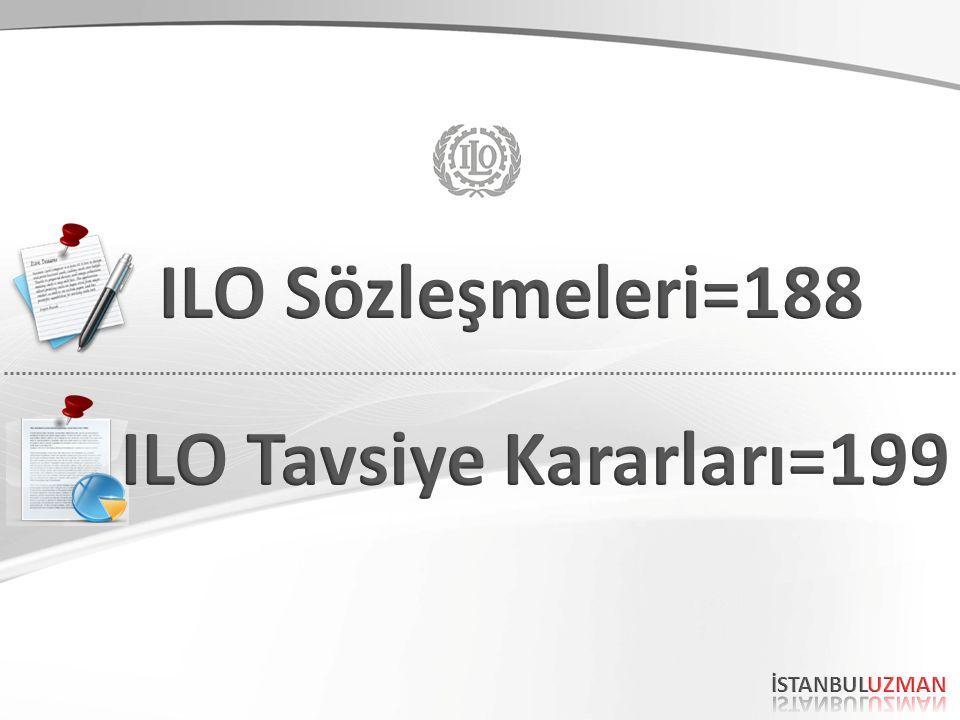 ILO SÖZLEŞMELERİ ILO nun temel ve en önemli işlevlerinden biri, Uluslararası Çalışma Konferansı nın uluslararası standartları belirleyen Sözleşme ve Tavsiye Kararlarının üçlü yapı (işçi-işveren- hükümet) tarafından kabul edilmesidir.