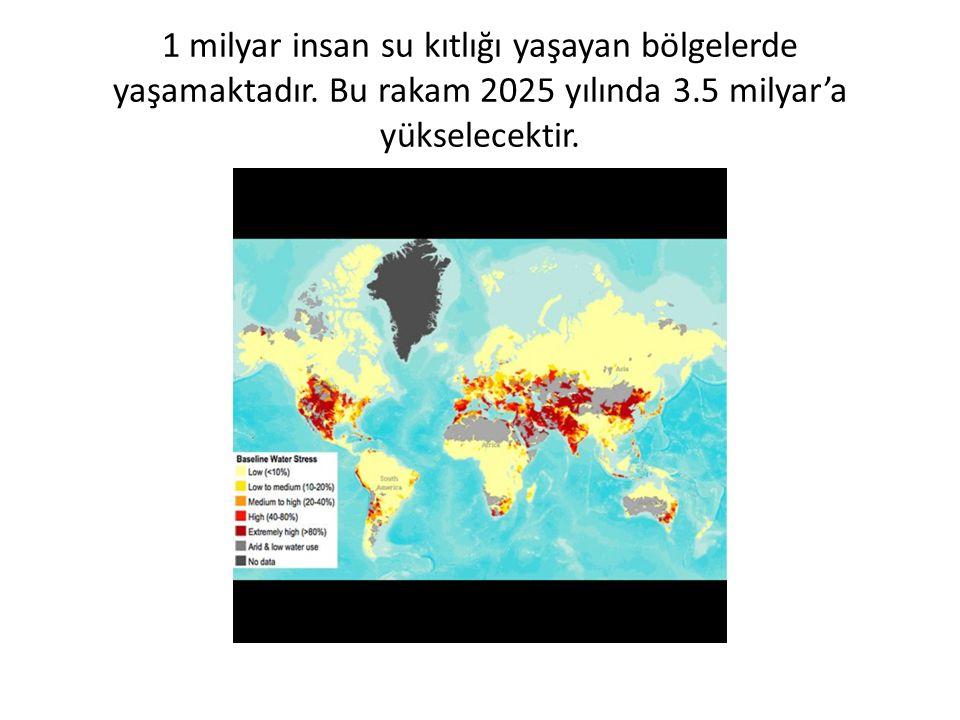 1 milyar insan su kıtlığı yaşayan bölgelerde yaşamaktadır.