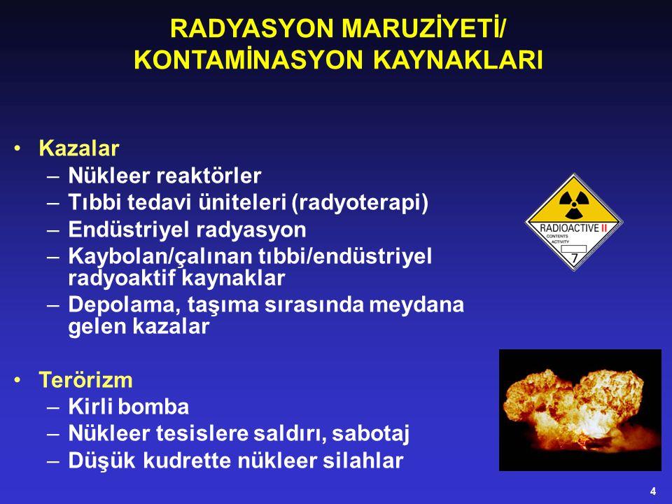 RADYASYON MARUZİYETİ/ KONTAMİNASYON KAYNAKLARI Kazalar –Nükleer reaktörler –Tıbbi tedavi üniteleri (radyoterapi) –Endüstriyel radyasyon –Kaybolan/çalınan tıbbi/endüstriyel radyoaktif kaynaklar –Depolama, taşıma sırasında meydana gelen kazalar Terörizm –Kirli bomba –Nükleer tesislere saldırı, sabotaj –Düşük kudrette nükleer silahlar 4