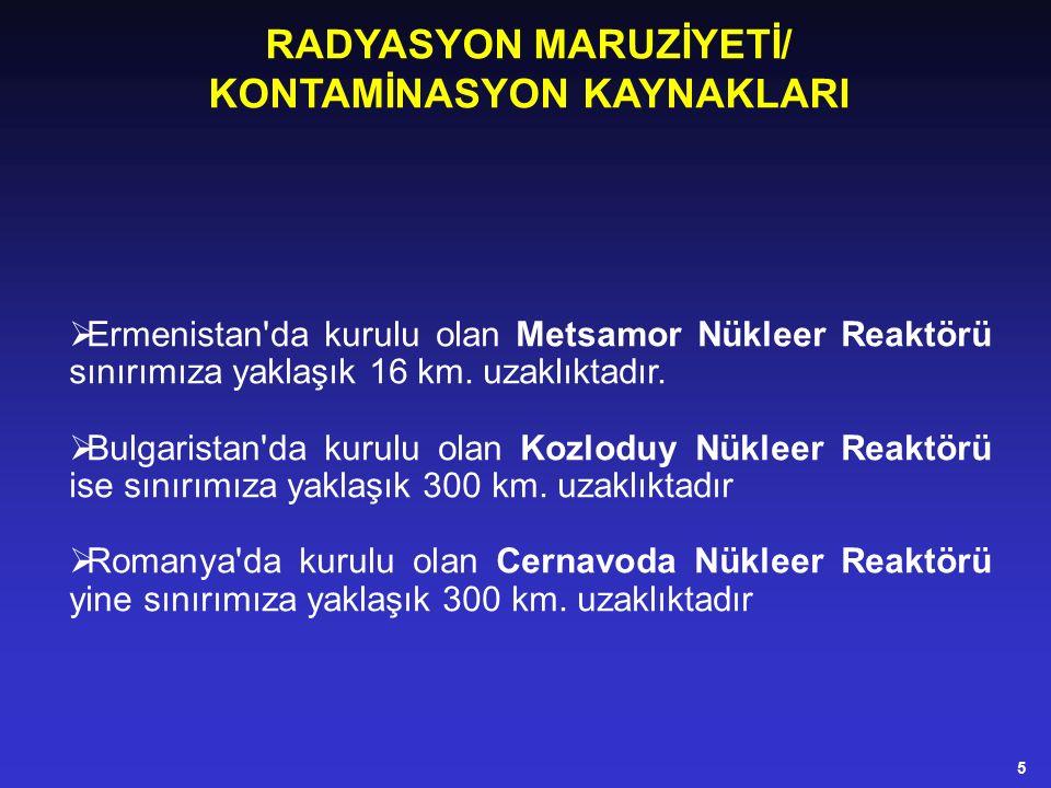  Ermenistan da kurulu olan Metsamor Nükleer Reaktörü sınırımıza yaklaşık 16 km.