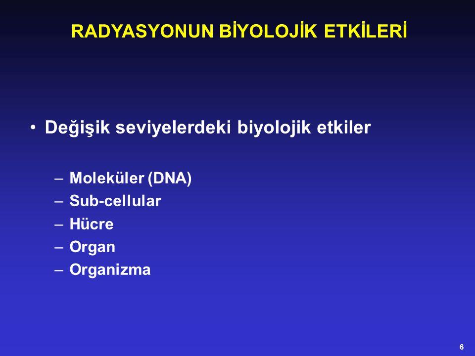 RADYASYONUN BİYOLOJİK ETKİLERİ Değişik seviyelerdeki biyolojik etkiler –Moleküler (DNA) –Sub-cellular –Hücre –Organ –Organizma 6
