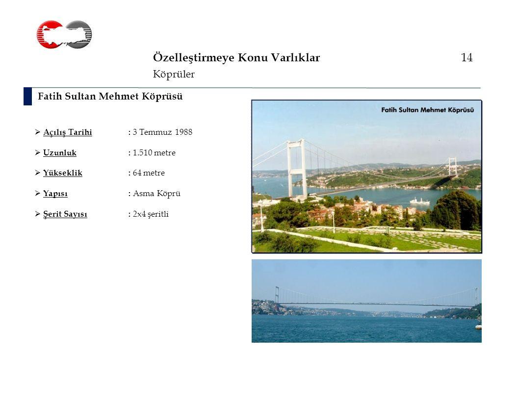 Özelleştirmeye Konu Varlıklar 14 Fatih Sultan Mehmet Köprüsü Köprüler  Açılış Tarihi: 3 Temmuz 1988  Uzunluk: 1.510 metre  Yükseklik: 64 metre  Yapısı: Asma Köprü  Şerit Sayısı: 2x4 şeritli