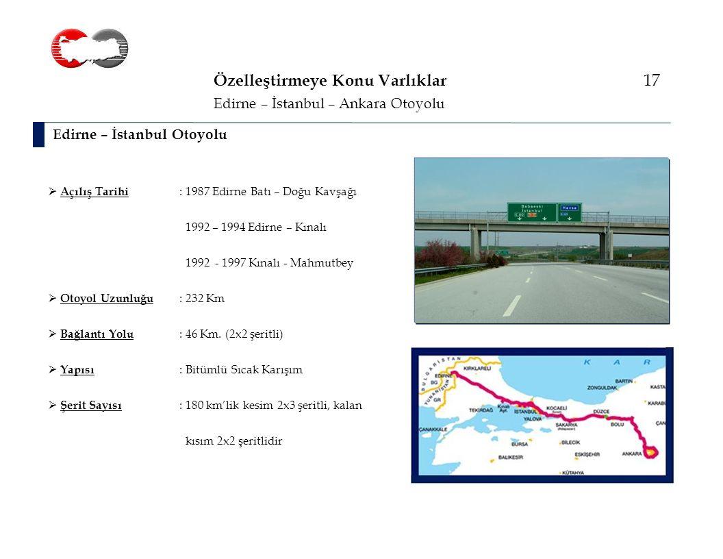 Özelleştirmeye Konu Varlıklar 17 Edirne – İstanbul Otoyolu Edirne – İstanbul – Ankara Otoyolu  Açılış Tarihi : 1987 Edirne Batı – Doğu Kavşağı 1992 – 1994 Edirne – Kınalı 1992 - 1997 Kınalı - Mahmutbey  Otoyol Uzunluğu : 232 Km  Bağlantı Yolu : 46 Km.