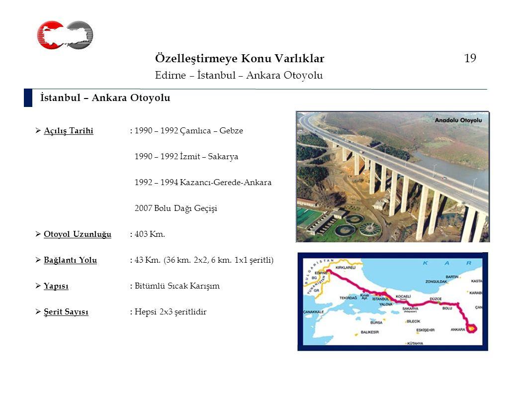 Özelleştirmeye Konu Varlıklar 19 İstanbul – Ankara Otoyolu Edirne – İstanbul – Ankara Otoyolu  Açılış Tarihi: 1990 – 1992 Çamlıca – Gebze 1990 – 1992 İzmit – Sakarya 1992 – 1994 Kazancı-Gerede-Ankara 2007 Bolu Dağı Geçişi  Otoyol Uzunluğu: 403 Km.