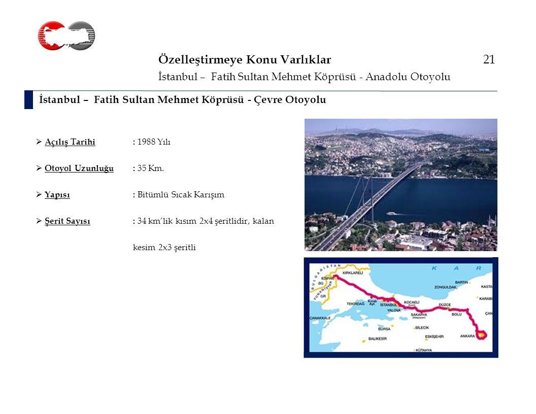 Özelleştirmeye Konu Varlıklar 21 İstanbul – Fatih Sultan Mehmet Köprüsü - Çevre Otoyolu İstanbul – Fatih Sultan Mehmet Köprüsü - Anadolu Otoyolu  Açılış Tarihi: 1988 Yılı  Otoyol Uzunluğu: 35 Km.