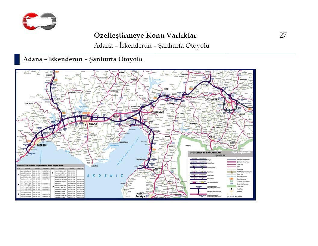 Özelleştirmeye Konu Varlıklar 27 Adana – İskenderun – Şanlıurfa Otoyolu