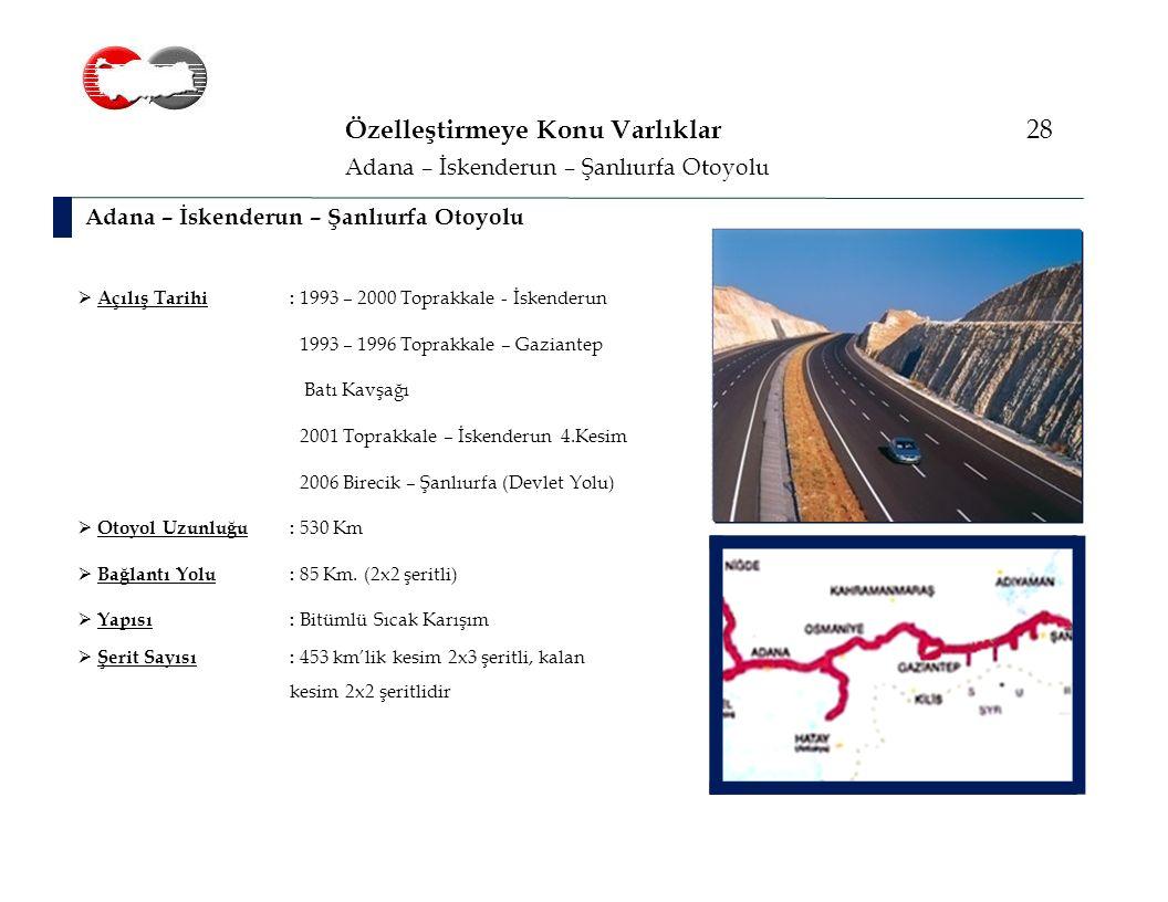 Özelleştirmeye Konu Varlıklar 28 Adana – İskenderun – Şanlıurfa Otoyolu  Açılış Tarihi: 1993 – 2000 Toprakkale - İskenderun 1993 – 1996 Toprakkale – Gaziantep Batı Kavşağı 2001 Toprakkale – İskenderun 4.Kesim 2006 Birecik – Şanlıurfa (Devlet Yolu)  Otoyol Uzunluğu: 530 Km  Bağlantı Yolu : 85 Km.