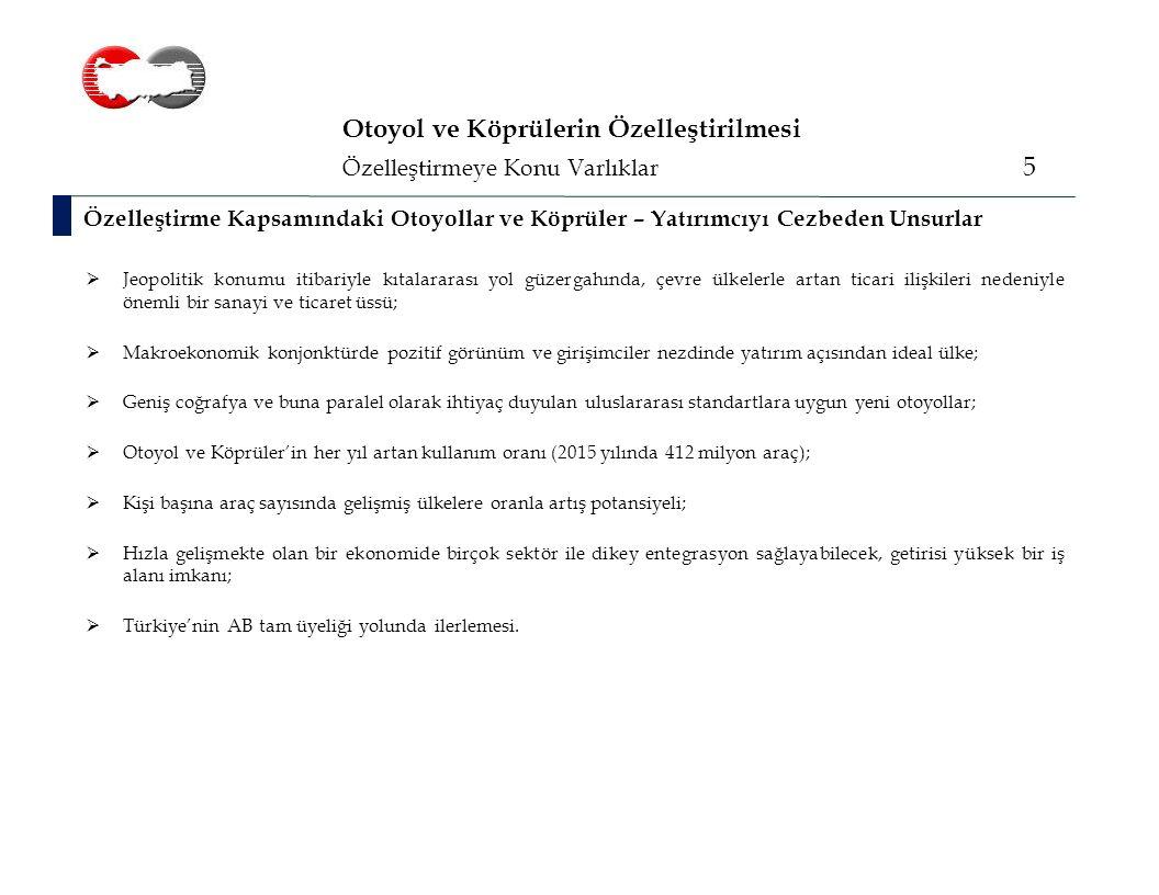 Özelleştirmeye Konu Varlıklar 16 Edirne – İstanbul Otoyolu Edirne – İstanbul – Ankara Otoyolu