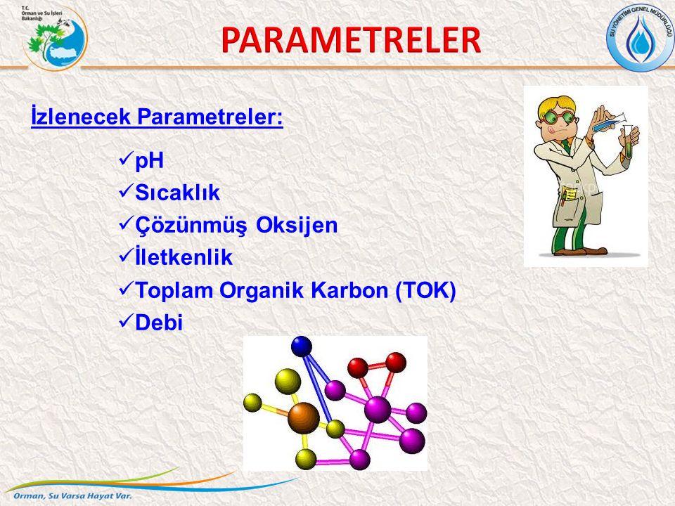 İzlenecek Parametreler: pH Sıcaklık Çözünmüş Oksijen İletkenlik Toplam Organik Karbon (TOK) Debi