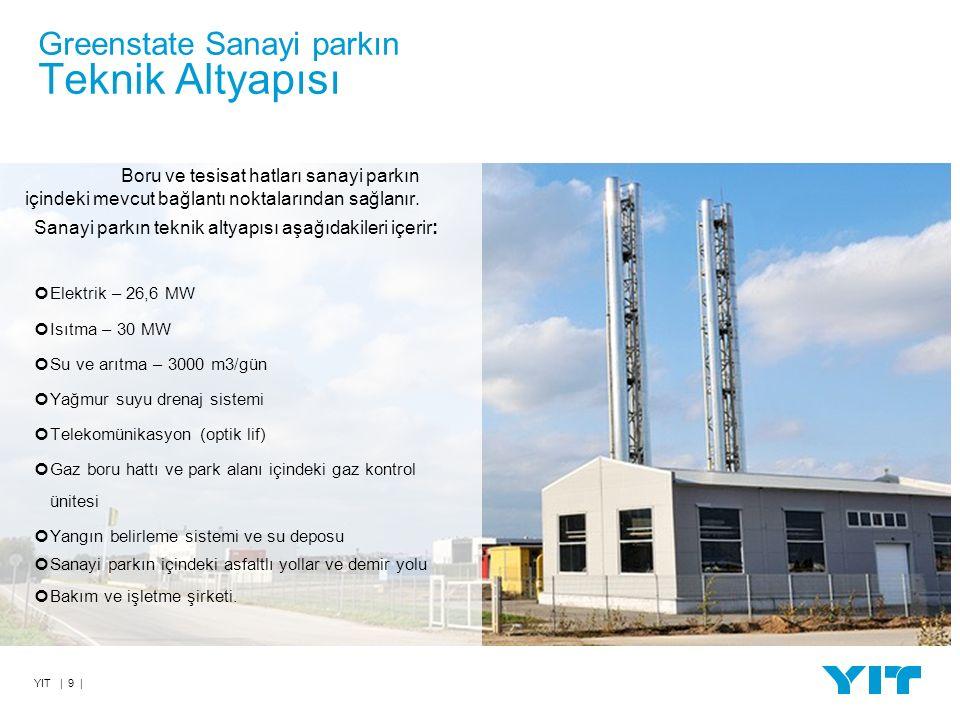 YIT | 9 | Greenstate Sanayi parkın Teknik Altyapısı Boru ve tesisat hatları sanayi parkın içindeki mevcut bağlantı noktalarından sağlanır.