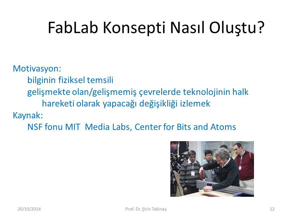 FabLab Konsepti Nasıl Oluştu? 20/10/2014Prof. Dr. Şirin Tekinay12 Motivasyon: bilginin fiziksel temsili gelişmekte olan/gelişmemiş çevrelerde teknoloj