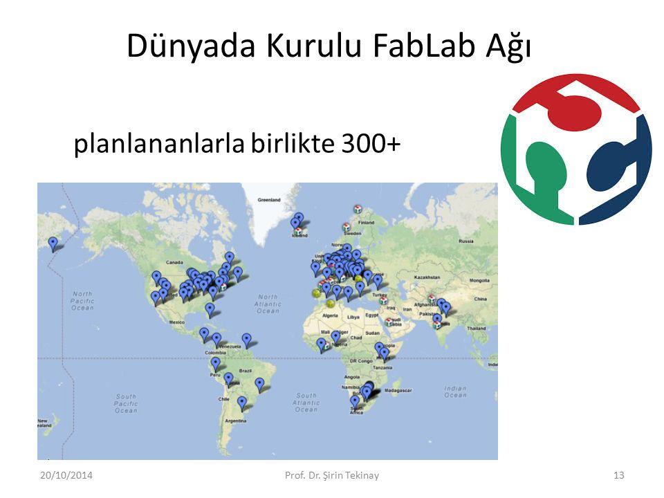 planlananlarla birlikte 300+ 20/10/2014Prof. Dr. Şirin Tekinay13 Dünyada Kurulu FabLab Ağı
