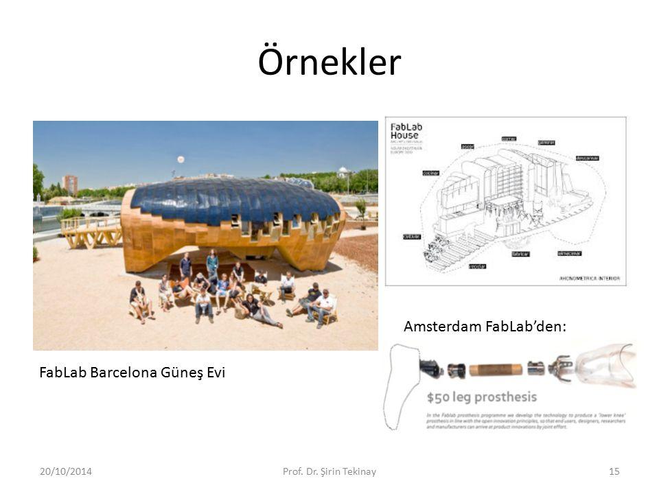 Örnekler 20/10/2014Prof. Dr. Şirin Tekinay15 FabLab Barcelona Güneş Evi Amsterdam FabLab'den:
