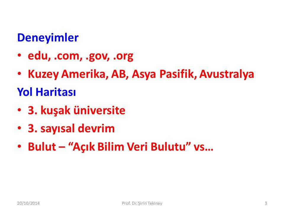 Deneyimler 20/10/2014Prof.Dr. Şirin Tekinay4 Ph.D.