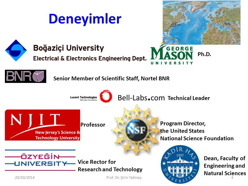 Deneyimler 20/10/2014Prof. Dr. Şirin Tekinay4 Ph.D. Senior Member of Scientific Staff, Nortel BNR Technical Leader Professor Program Director, the Uni