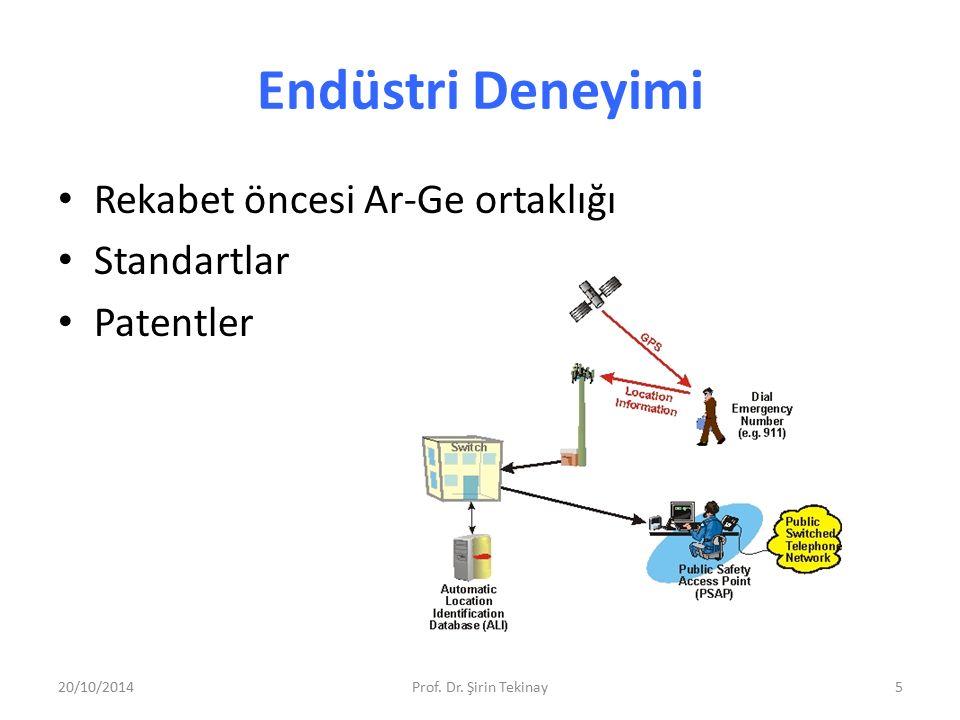 Endüstri Deneyimi Rekabet öncesi Ar-Ge ortaklığı Standartlar Patentler 20/10/2014Prof. Dr. Şirin Tekinay5