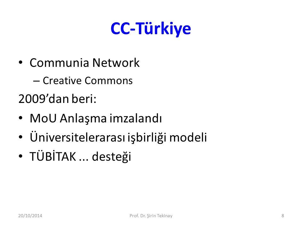 CC-Türkiye Communia Network – Creative Commons 2009'dan beri: MoU Anlaşma imzalandı Üniversitelerarası işbirliği modeli TÜBİTAK... desteği 20/10/2014P