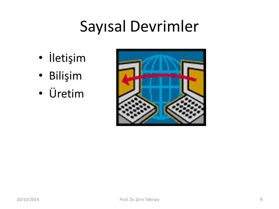 Sayısal Devrimler İletişim Bilişim Üretim 20/10/2014Prof. Dr. Şirin Tekinay9