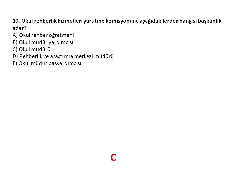 10. Okul rehberlik hizmetleri yürütme komisyonuna aşağıdakilerden hangisi başkanlık eder.