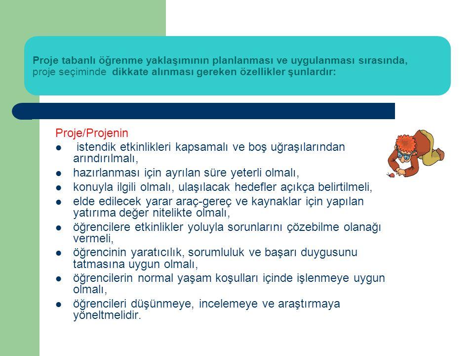 Proje planını hazırlarken göz önüne alınması gereken planlama öğeleri şunlardır: Program: Projede yapılacak olan işler ve sürelerini gösteren iş takviminin hazırlanması İş Bölümü: Gruptaki her bir üyenin görev tanımının yapılması Bütçe: Grupta yapılacak işler için harcanacak paranın önceden belirlenmesi Araştırma Planı: Bilgi toplamak için kullanılacak yöntem, araç- gereç ve kaynakların listesi, araştırmayı tanımlamak için gerekli eylemlerin ve yapılacak araştırmalarla ilişkin iş bölümünün yer aldığı bir plan hazırlanması Materyaller: Araştırma için gerekli olan araç gereçlerin, kontrol listelerinin belirlenmesi ve hazırlanması Yayın Listesi: Araştırmada kullanılacak fotoğraf, gazete, video, radyo, televizyon vb.