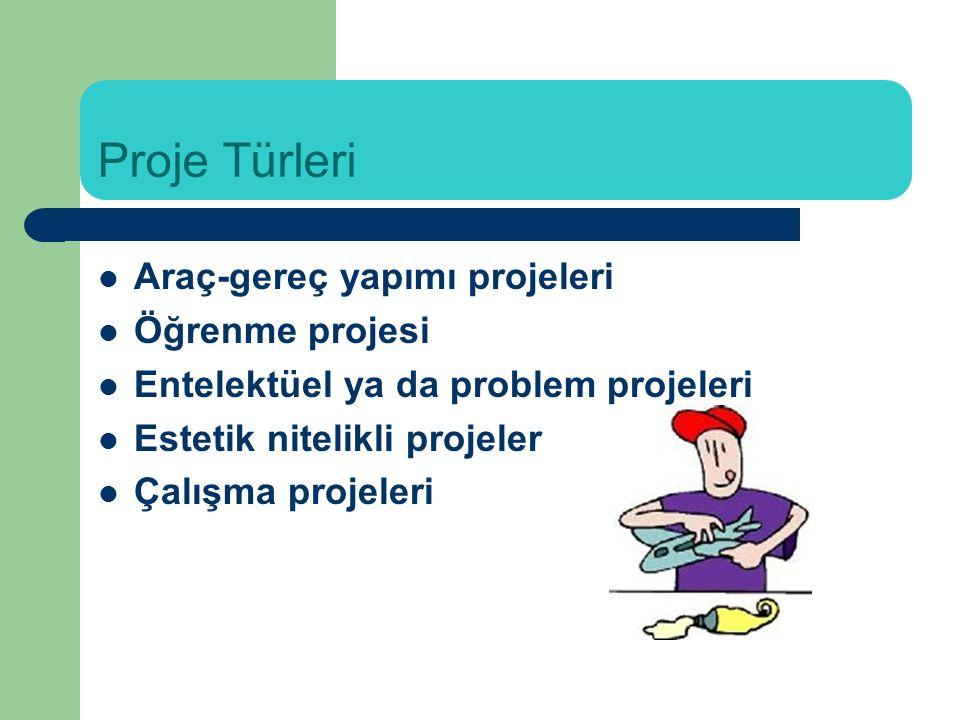 Proje Türleri Araç-gereç yapımı projeleri Öğrenme projesi Entelektüel ya da problem projeleri Estetik nitelikli projeler Çalışma projeleri