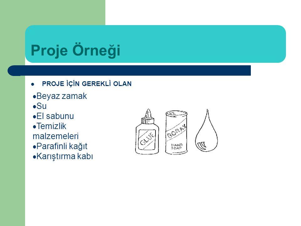 Proje Örneği PROJE İÇİN GEREKLİ OLAN MALZEMELER:  Beyaz zamak  Su  El sabunu  Temizlik malzemeleri  Parafinli kağıt  Karıştırma kabı