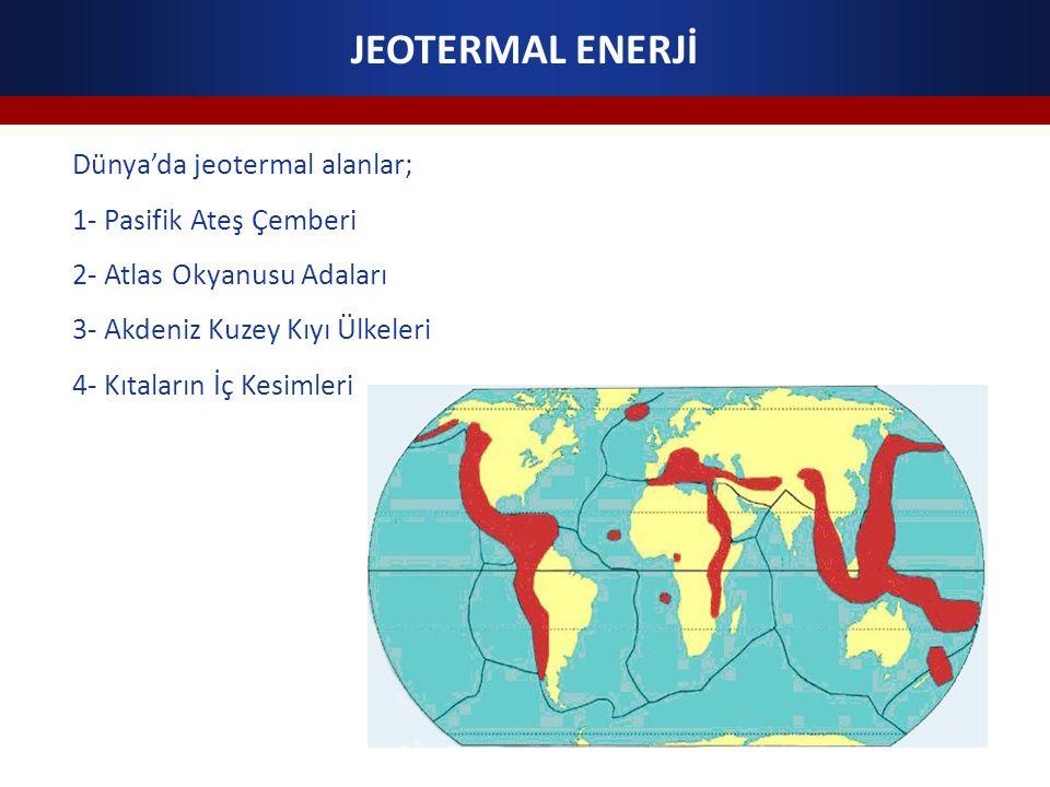 JEOTERMAL ENERJİ Dünya'da jeotermal alanlar; 1- Pasifik Ateş Çemberi 2- Atlas Okyanusu Adaları 3- Akdeniz Kuzey Kıyı Ülkeleri 4- Kıtaların İç Kesimleri