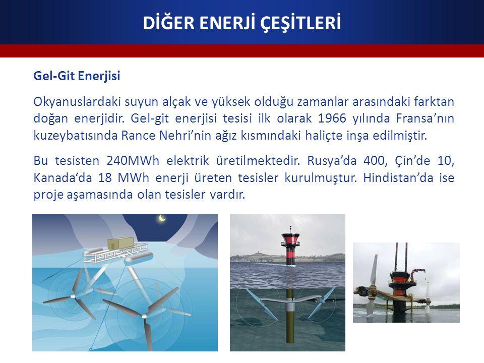 DİĞER ENERJİ ÇEŞİTLERİ Gel-Git Enerjisi Okyanuslardaki suyun alçak ve yüksek olduğu zamanlar arasındaki farktan doğan enerjidir.