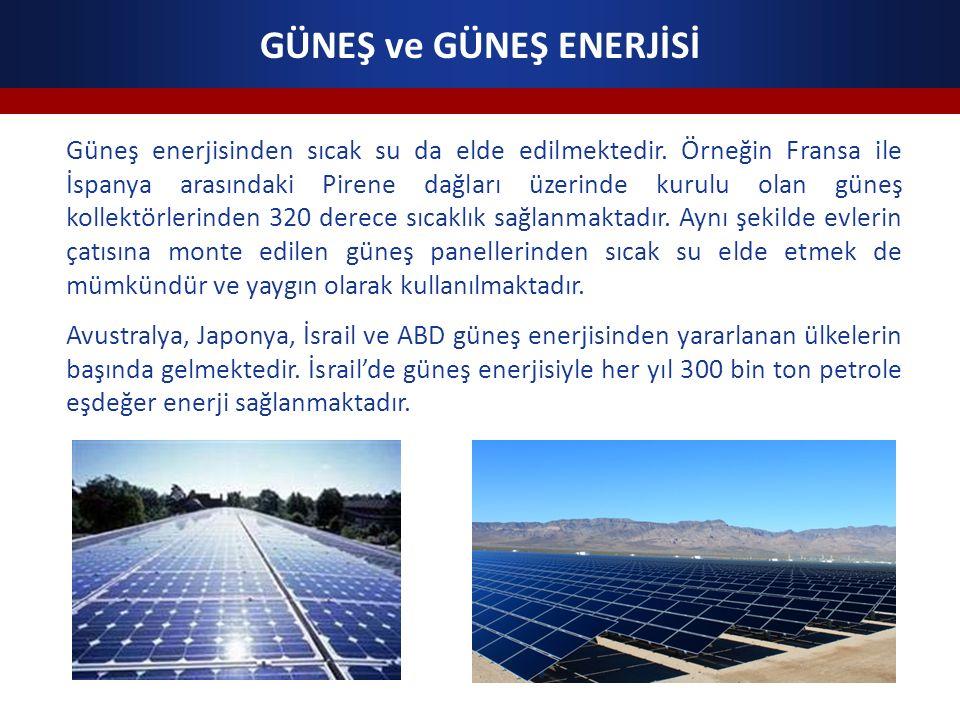 GÜNEŞ ve GÜNEŞ ENERJİSİ Güneş enerjisinden sıcak su da elde edilmektedir.
