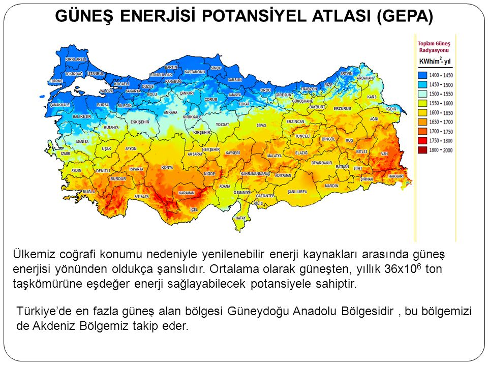 Ülkemiz güneş enerjisinden yararlanma potansiyeli olarak oldukça iyi durumdadır.