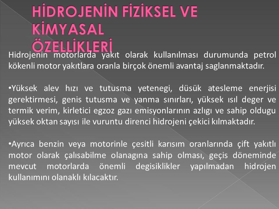 Hidrojenin motorlarda yakıt olarak kullanılması durumunda petrol kökenli motor yakıtlara oranla birçok önemli avantaj saglanmaktadır.