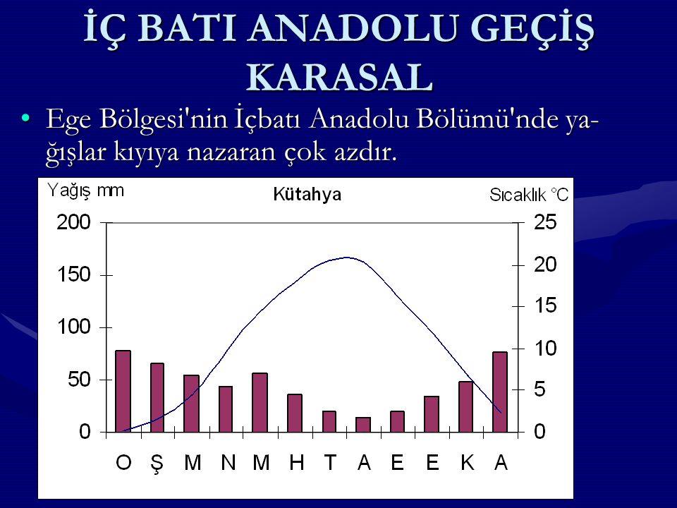 KARASAL İKLİM İç Anadolu nun kış sıcaklık ortalaması 1 - 2°C, yaz sıcaklık ortalaması 22 - 23°C, yıllık sıcaklık ortalaması ise 10 - 12°C'dir.İç Anadolu nun kış sıcaklık ortalaması 1 - 2°C, yaz sıcaklık ortalaması 22 - 23°C, yıllık sıcaklık ortalaması ise 10 - 12°C'dir.