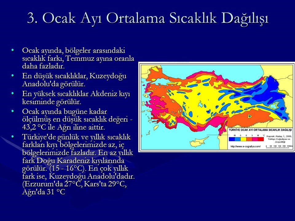 2. Temmuz Ayı Ortalama Sıcaklık Dağılışı TEMMUZ AYI SICAKLIKTEMMUZ AYI SICAKLIK Temmuz ayında en düşük sıcaklık, Kuzeydoğu Anadolu, Karadeniz kıyıları