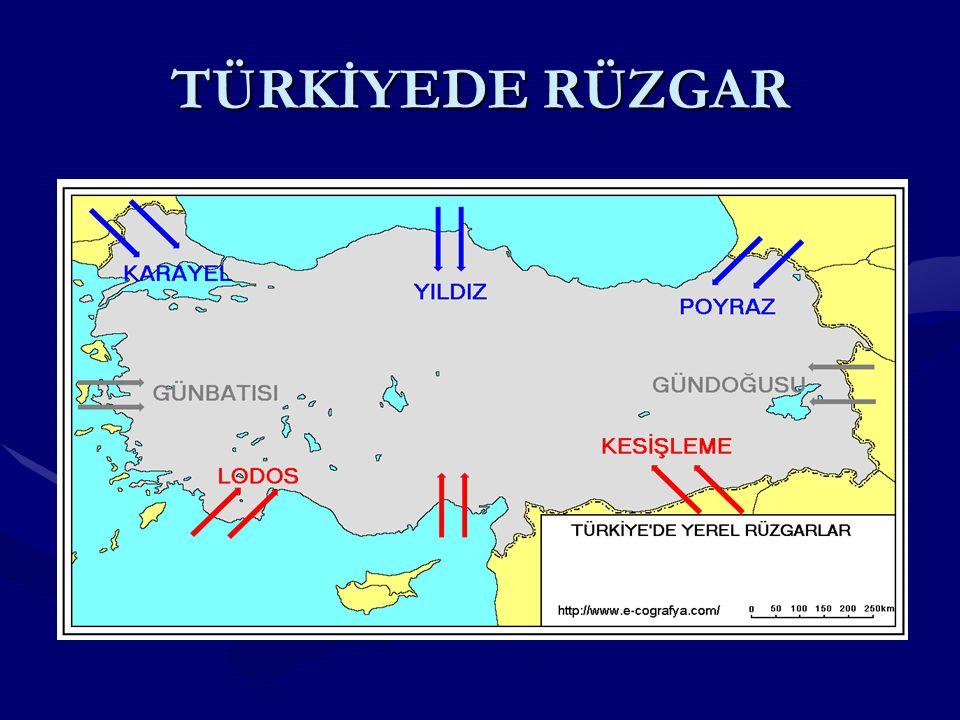 m.ay RÜZGARLARRÜZGARLAR Türkiye ye, kuzeybatı, kuzey ve kuzeydoğudan esen rüzgarlar enlemin etkisiyle, hava sıcaklığını düşürürler.