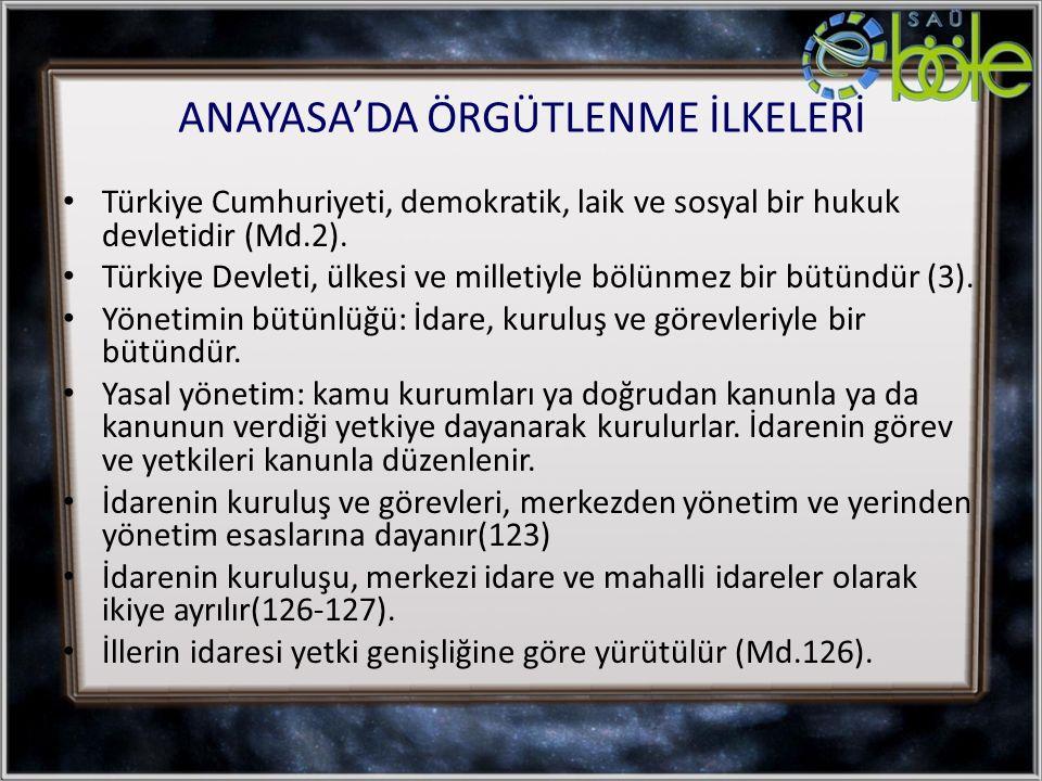 ANAYASA'DA ÖRGÜTLENME İLKELERİ Türkiye Cumhuriyeti, demokratik, laik ve sosyal bir hukuk devletidir (Md.2). Türkiye Devleti, ülkesi ve milletiyle bölü