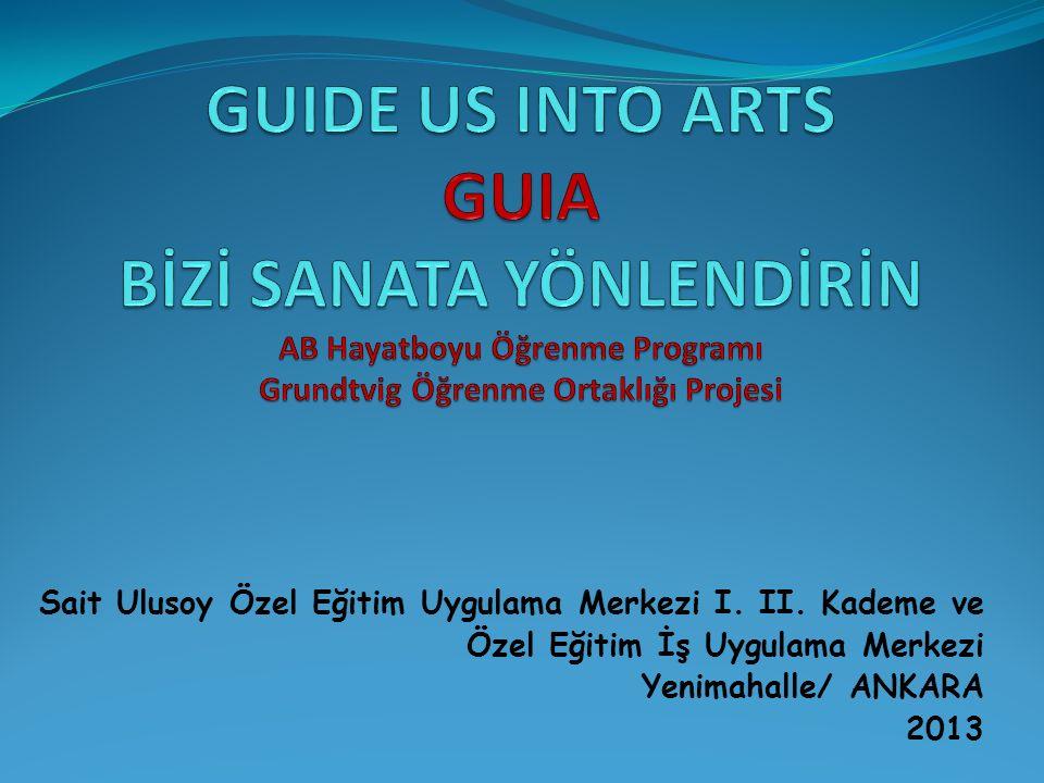 GUIA'nın HEDEFİ GUIA, sanatsal araçlar yoluyla yetersizliği olan bireyler ile deneyimsel bilgi ve çalışma yöntemleri değişimini hedeflemektedir.