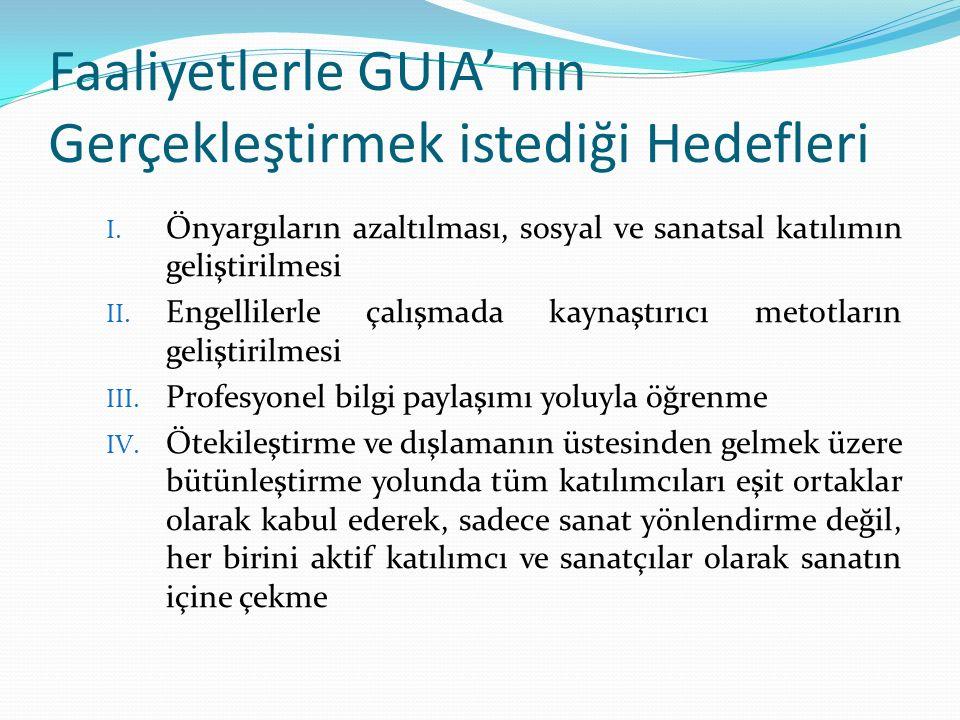 Faaliyetlerle GUIA' nın Gerçekleştirmek istediği Hedefleri I. Önyargıların azaltılması, sosyal ve sanatsal katılımın geliştirilmesi II. Engellilerle ç